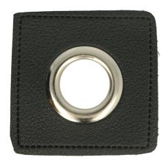 Nestels op zwart Skai-leer vierkant 8mm - 50st