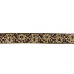 Geweven band 33mm zwart met bloemen zilver en goud - 25m