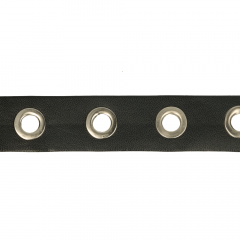 Nesteloogband 25mm Skai-leer zwart - 10m