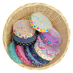 Gekleurd elastiek 25mm kleurrijke designs - 10m
