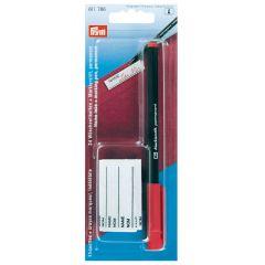 Prym Wasmarkeerpen met 24 etiketten rode stift - 5st