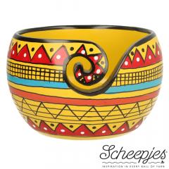 Scheepjes Yarn bowl mango hout 11x12,5cm Yellow Stripe - 1st