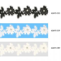 Etskant bloemen met blaadjes en strass 43mm - 13,7m