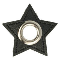 Nestels op zwart Skai-leer ster 8mm - 50st