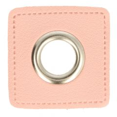 Nestels op roze Skai-leer vierkant 11mm - 50st