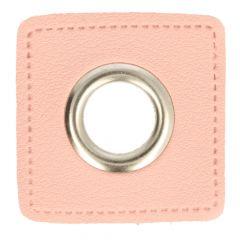 Nestels op roze Skai-leer vierkant 14mm - 50st