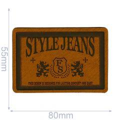 Skai-leren label style jeans 80x55mm - 5st - 01
