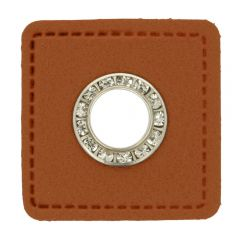 Nestels diamanten bruin Skai-leer vierkant 8mm - 50st
