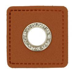 Nestels diamanten bruin Skai-leer vierkant 11mm - 50st