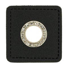 Nestels diamanten zwart Skai-leer vierkant 8mm - 50st
