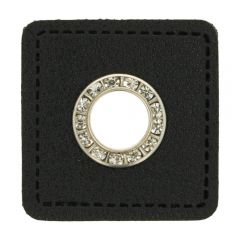 Nestels diamanten zwart Skai-leer vierkant 11mm - 50st