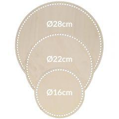 Houten tasbodem rond geperforeerd assortiment - 3x3st