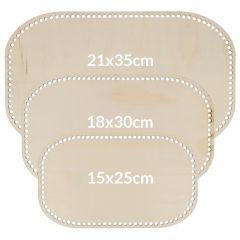 Houten tasbodem rechthoek geperforeerd assortiment - 3x3st