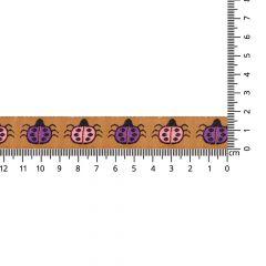 Geweven band lieveheersbeestjes 17mm - 25m