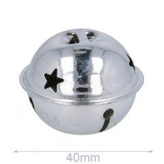 Belletjes met sterren 40-80mm zilver - 5-20st