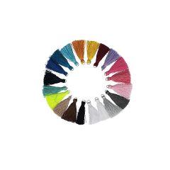 Kwastje glans met ring 4,0cm lang - 5st x 20 kleuren