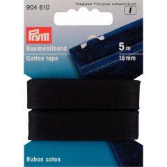 Prym Katoenband 15mm zwart/wit - 5st I