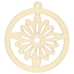 Houten ornament rond met ster 4.5 cm - 10st