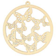 Houten ornament rond vlindertjes 7 cm - 10st