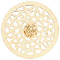Houten ornament rond fantasie 7.3 cm - 10st