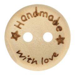 Houten knoop handmade with love maat 24-32 - 50st
