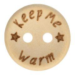 Houten knoop keep me warm maat 24-32 - 50st
