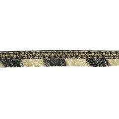 Franjeband met kralen licht goud en zwart - 20m