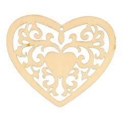 Houten ornament hart 7,8 cm - 10 stuks