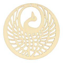 Houten ornament vogel 7,8 cm - 10 stuks