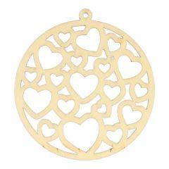 Houten ornament hartjes 7 cm - 10 stuks