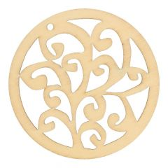 Houten ornament krul 7 cm - 10 stuks