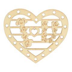 Houten ornament hart 7 cm - 10 stuks
