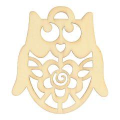 Houten ornament uil 6 cm - 10 stuks
