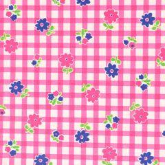 Tissu de Marie Stof bloemen en ruiten 1.50m - 10m