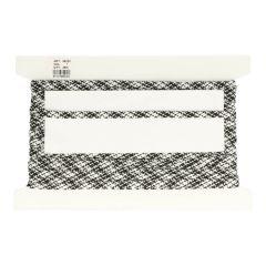 Veterband dubbeldik zwart-wit gemeleerd - 25m