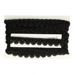 Parelband etskant in licht offwhite en zwart - 12m