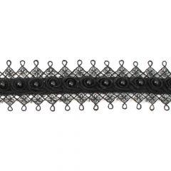 Parelband  etskant in licht offwhite en zwart - 13.7m