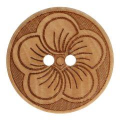 Knoop hout met bloem maat 32-40 - 50st