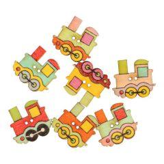 Knoop lokomotief - assorti kleuren in 1 koker - 50 stuks