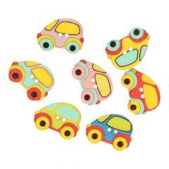 Knoop auto -assorti kleuren in 1 koker - 50 stuks