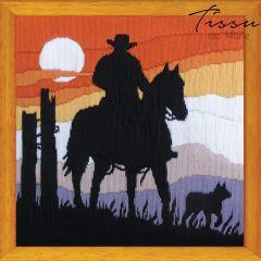 Tissu de Marie Borduurpakket cowboy sunset 30x30cm - 1st
